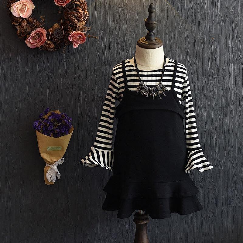 韓版女童荷葉袖兩件式吊帶裙~現貨