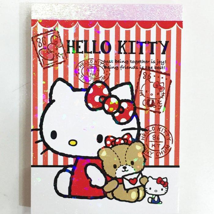 HELLO KITTY 便條紙 MEMO紙 迷你 記事本 直條紋 熊熊 文具 日本製 正版日本進口 JustGirl