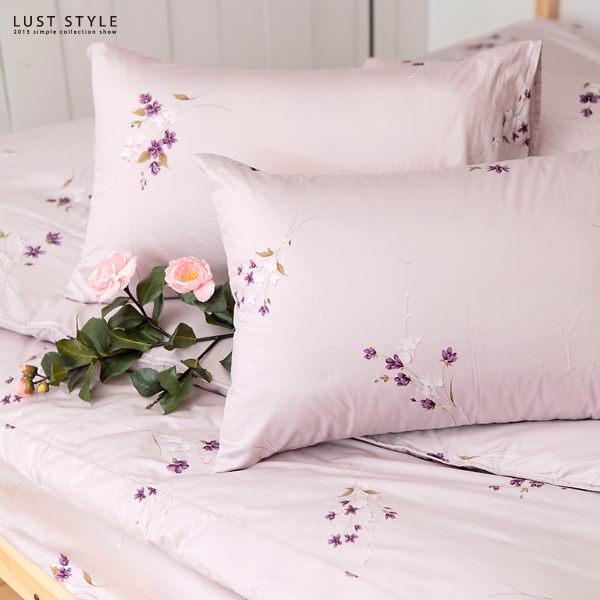 東憶生活設計【靜思語紫】專櫃當季印花、雙人5尺床包/枕套組 【熱烈強檔】