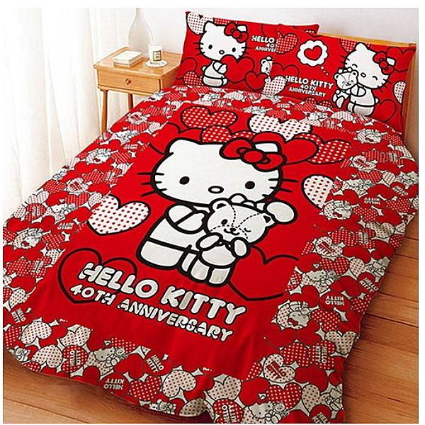 LUST寢具 【Hello Kitty 與Bear】雙人薄被套6X7尺、日本卡通授權、台灣製