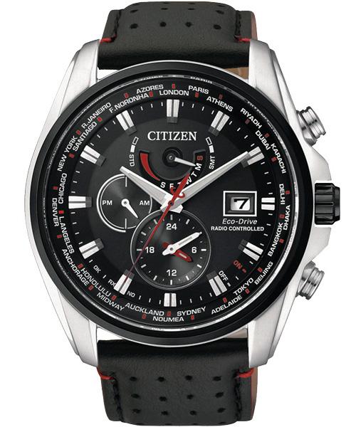 CITIZEN星辰AT9037-05E競速黑紅電波光動能腕錶/黑面44mm
