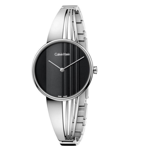 CK 曲線系列(K6S2N111)藝術穿越手環腕錶/黑面34mm