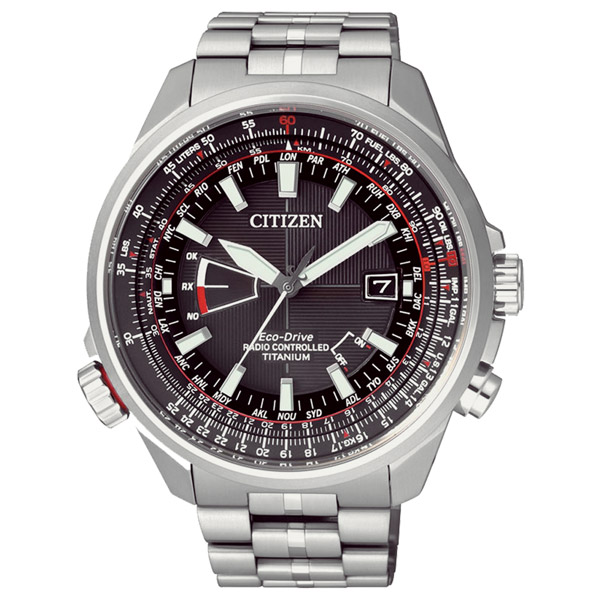 CITIZEN星辰CB0141-55E運動電波鈦金屬光動能腕錶/黑面45mm