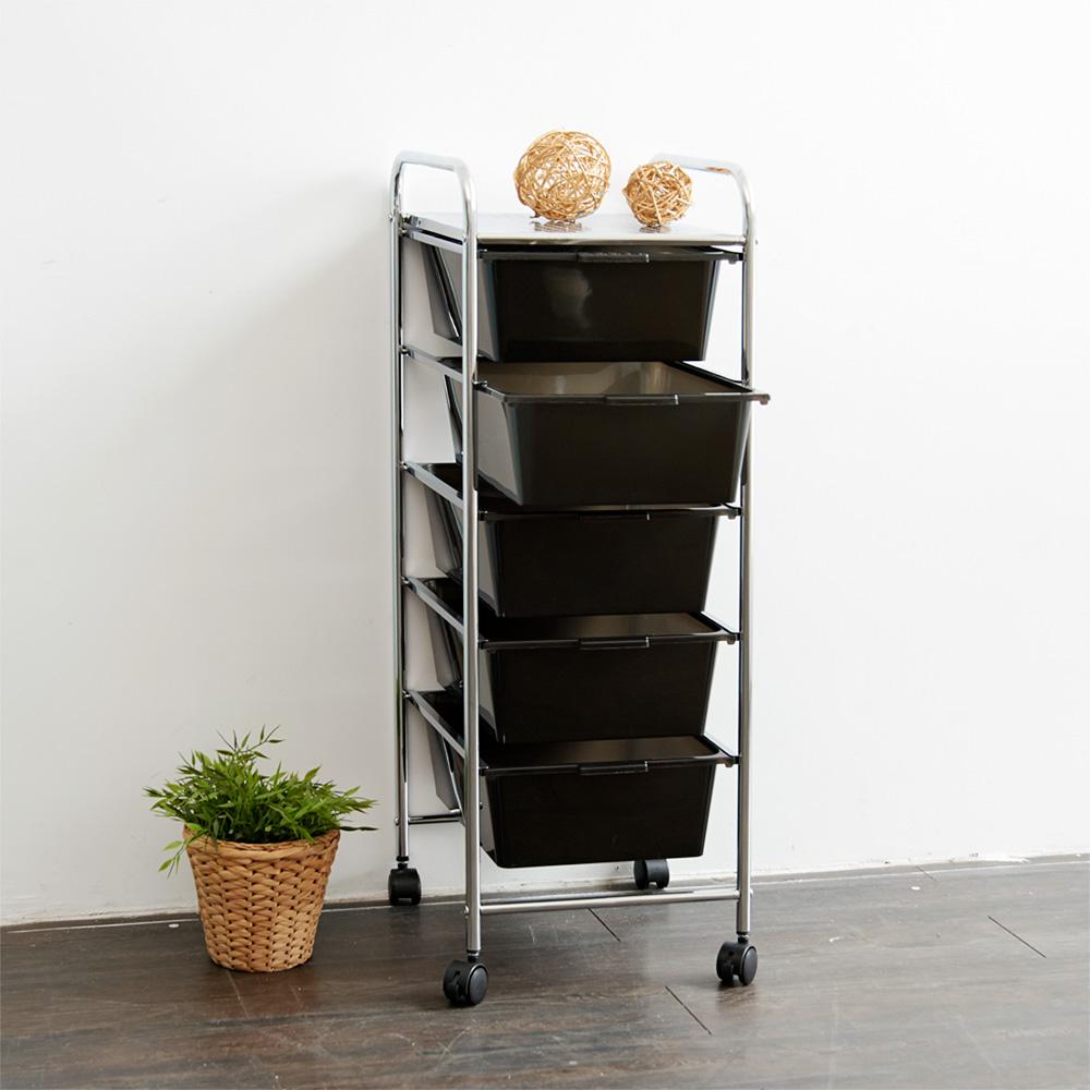 【ikloo】可移式五層黑色抽屜收納箱/收納盒