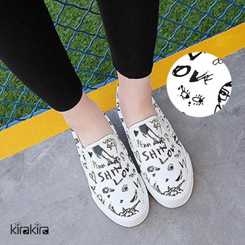 休閒鞋-創意塗鴉帆布休閒懶人鞋