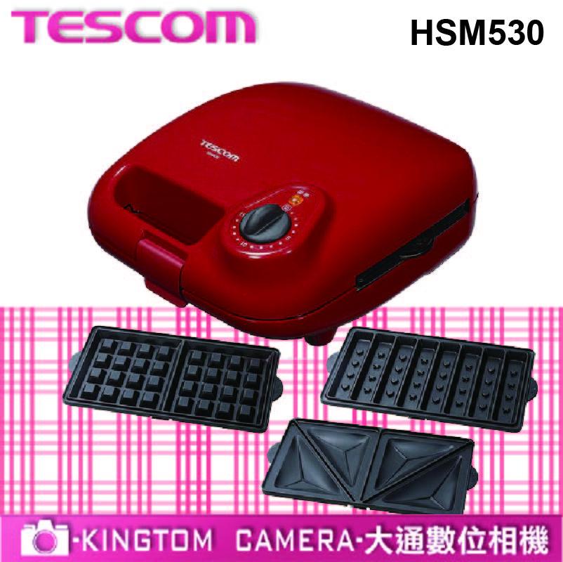 TESCOM 多功能鬆餅機附三種烤盤 HSM530TW/HSM530