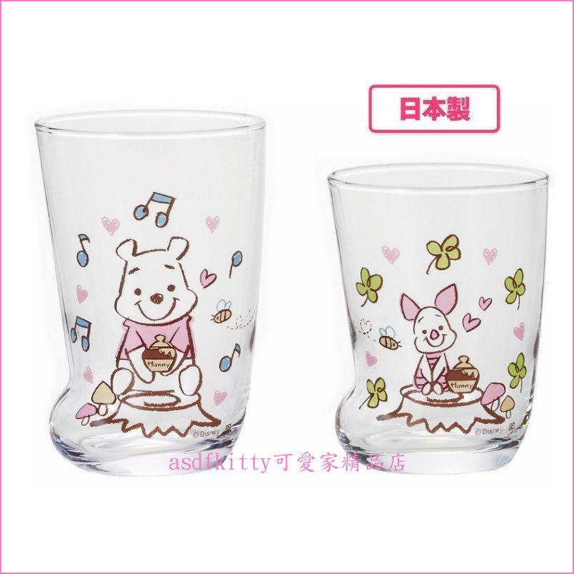 asdfkitty可愛家☆日本石塚硝子迪士尼小熊維尼靴型透明玻璃對杯組-1入2個-230ML & 300ML-日本製
