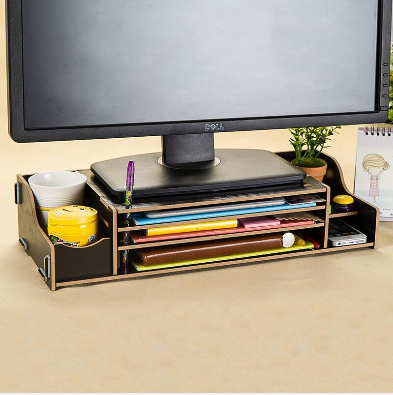 WallFree窩自在★升級可調高度加厚木質電腦螢幕收納架-黑色