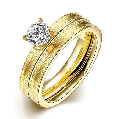 鈦鋼戒指鑲鑽美式戒飾-時尚精美璀璨套戒情人節生日禮物男女飾品73le154【獨家進口】【米蘭精品】