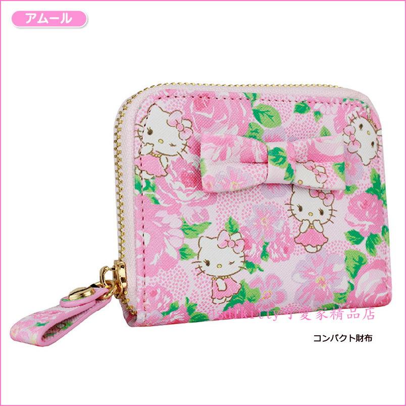 asdfkitty可愛家☆KITTYx DEARISIMO 玫瑰緞帶拉鍊皮夾/短夾/錢包-可裝零錢-日本正版商品