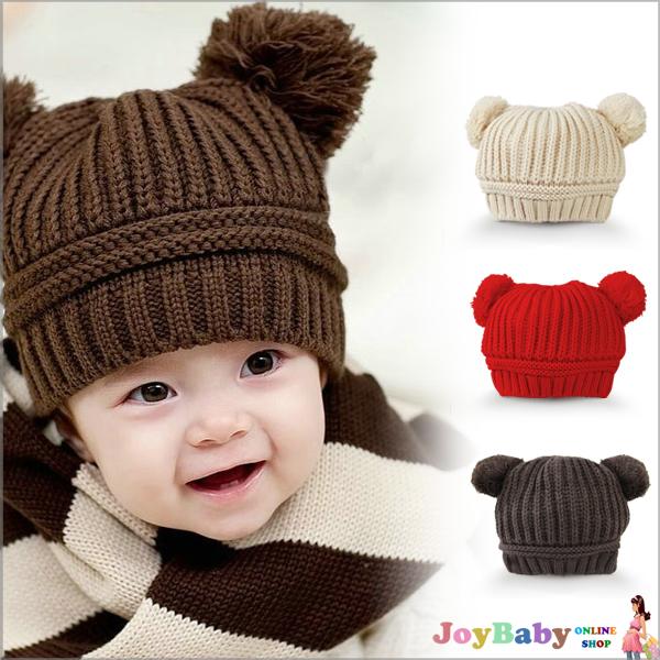 【JoyBaby】秋冬雪花針織毛球帽 嬰兒雙球米奇造型保暖帽 麻花編織
