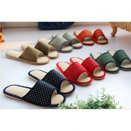 室內拖鞋- 可愛星星提花棉麻透氣居家拖鞋防滑拖鞋【Casa Mia】
