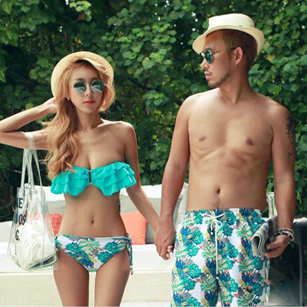 PS Mall 韓版情侶泳裝 浪漫花朵荷葉邊比基尼泳裝 附罩衫 沙灘褲 海灘褲 BIKINI 泳褲【ET468】