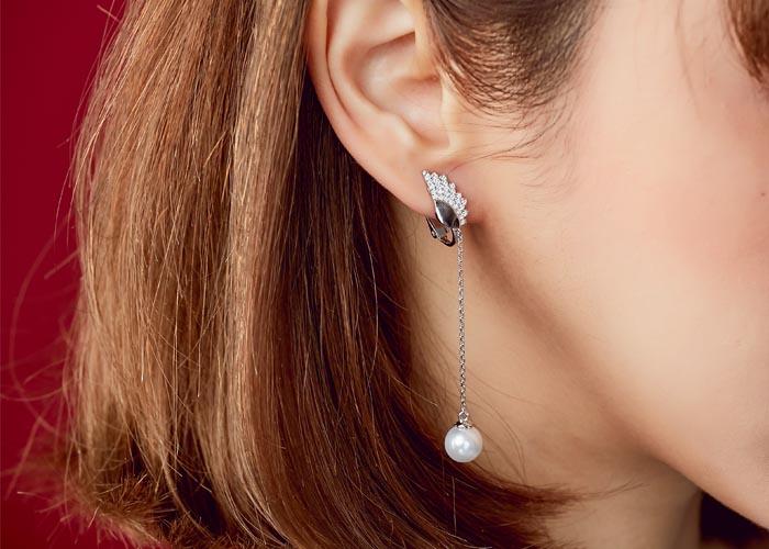 韓國飾品,珍珠耳環,夾式耳環,螺旋夾耳環,天使造型耳環