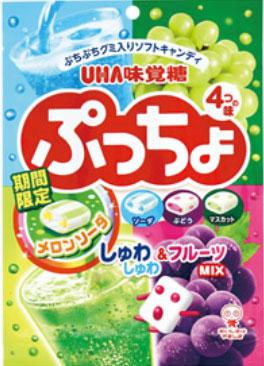 有樂町進口食品 日本 UHA 味覺糖4味噗啾 軟糖 哈密瓜蘇打 汽水 葡萄 青葡萄 一次滿足 J60 4902750812932