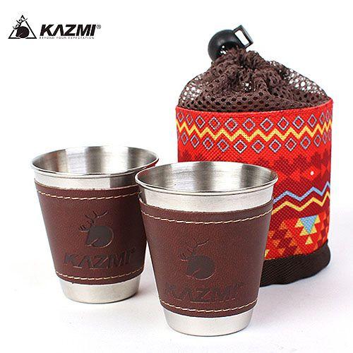 【露營趣】中和 送D型扣 KAZMI 仿皮革不鏽鋼杯2入組-70ml酒杯 K5T3K005