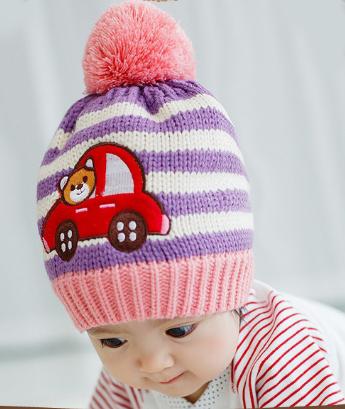 Lemonkid?秋冬可愛時尚條紋熊卡通汽車立體毛球兒童保暖毛線帽-紫米條紋