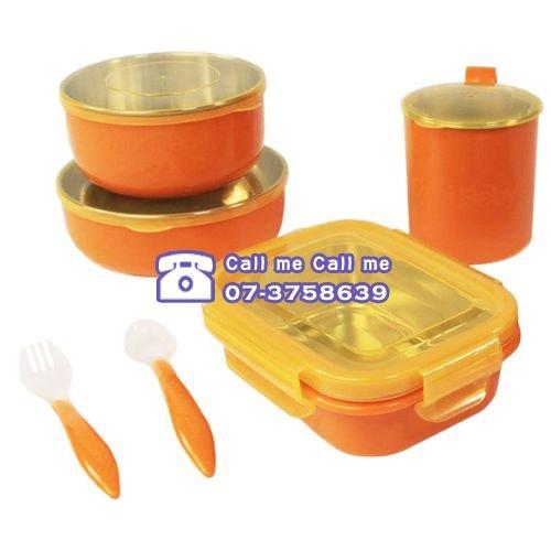 ★衛立兒生活館★美國 Onbi baby 歐比寶貝 不鏽鋼攜帶式餐具(綠/橘)