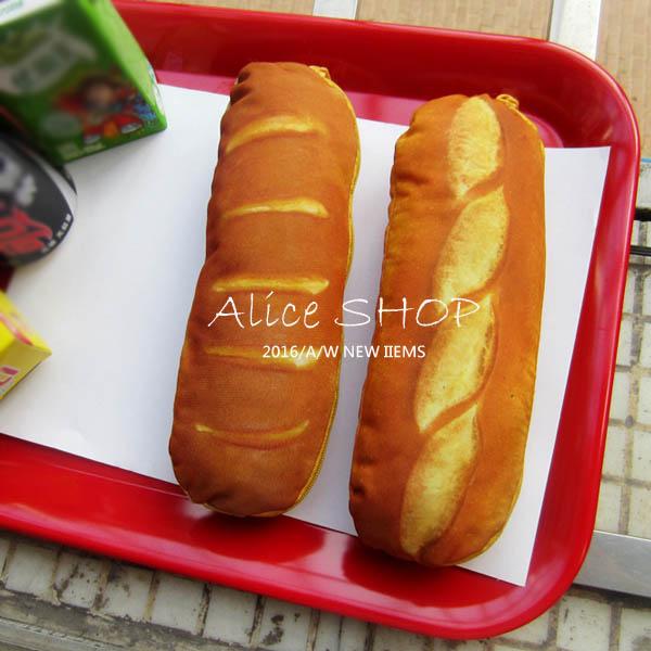 【Alice Shop 愛麗絲】吃早餐了嗎?法國麵包造型文青風 筆袋 筆袋 鉛筆盒【pg53100014】現貨