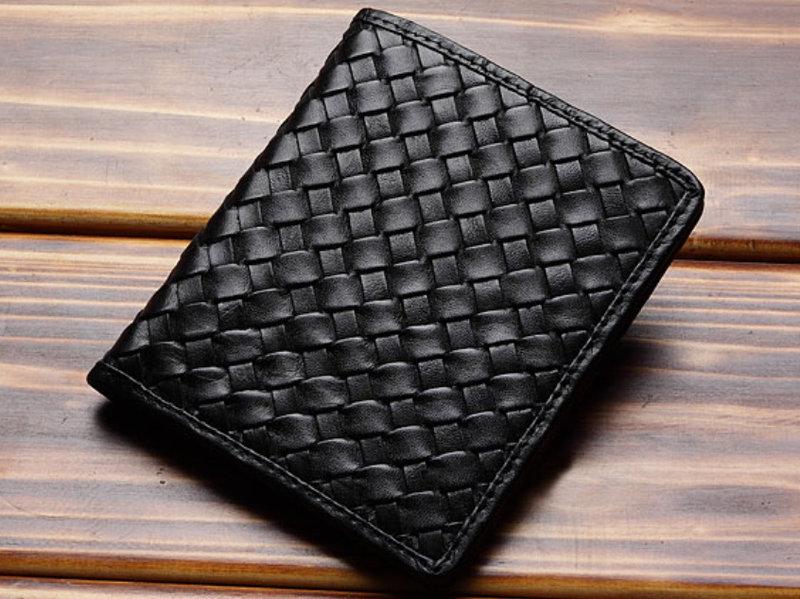短夾 真皮編織包-流行經典個性男皮夾9b123【義大利進口】【米蘭精品】