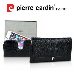 [ iPhone6/6s Plus ] Pierre Cardin法國皮爾卡登5.5吋頂級小鱷魚皮腰掛式真皮手機套/保護套/真皮 可客製化 黑色