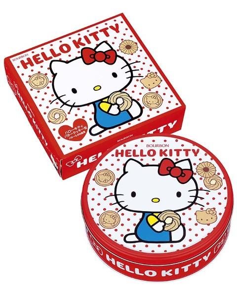 【橘町五丁目】限量促銷! 北日本BOURBON Hello Kitty 餅乾禮盒(新版點點圓罐)-附贈提袋!