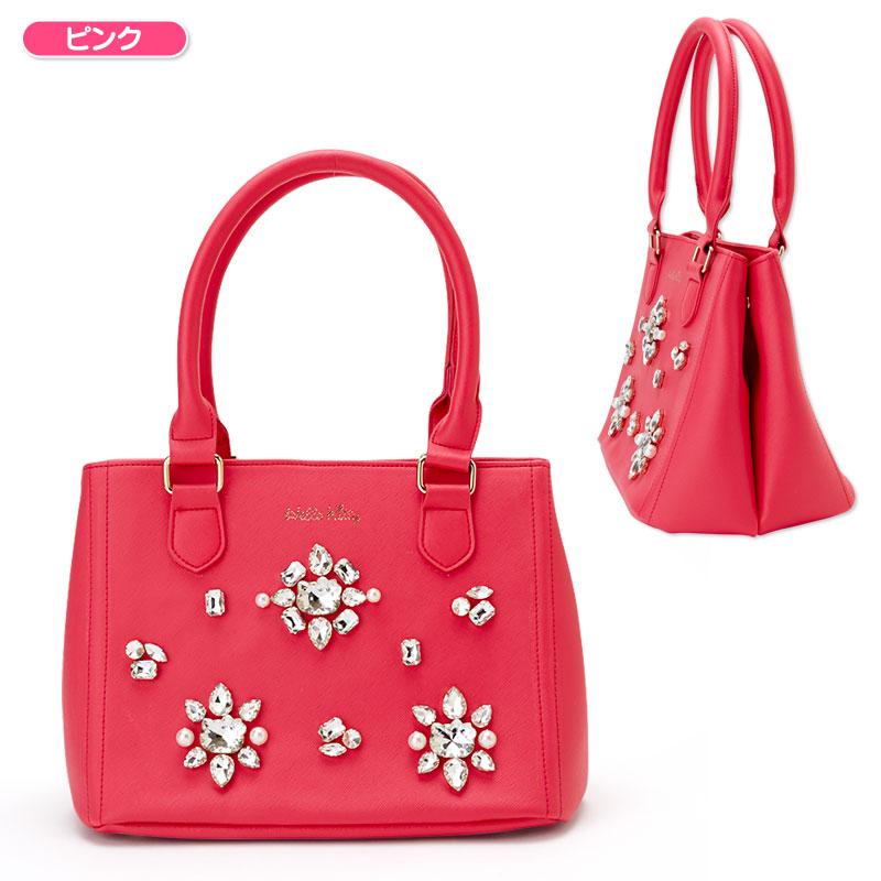 【真愛日本】15111200004 手提包-KT鑽花桃 三麗鷗 Hello Kitty 凱蒂貓 ?背包 手提包 包包