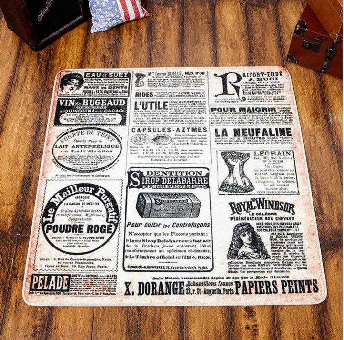 簡約復古風  懷舊美國報紙100*100客廳地毯/ 地墊
