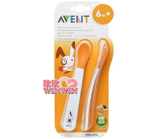 AVENT - 04725 QQ兔學習湯匙組 (6M寶寶適用) 柔軟材質- 不傷寶寶牙齦