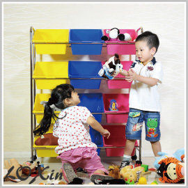 Loxin【BG0593】ikloo~可移式12格玩具收納組 玩具車 玩具箱