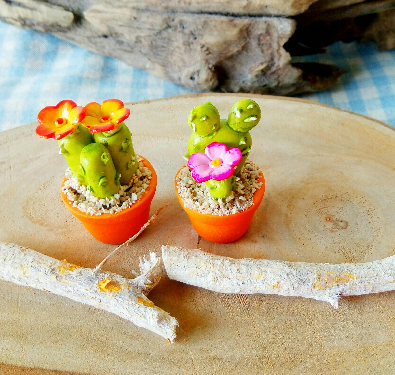 手工多肉仙人掌小盆栽擺飾 兩個一組胖胖款 仙人掌 書桌擺飾 療癒商品 不凋擺飾 文創商品
