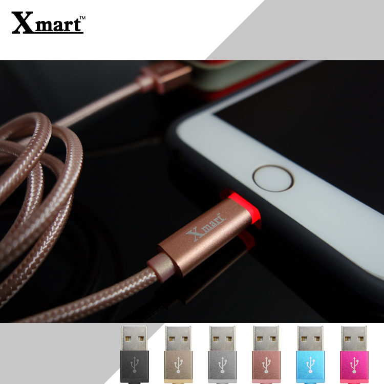 Xmart Apple 1.2米/120cm 發光編織傳輸線/充電線/2.4A/Apple iPhone 5/5S/5C/6/6S/6 PLUS/6S PLUS/7/7 Plus/iPad 5/iPa..