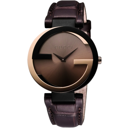 【GUCCI】Interlocking 奢華時尚元素18K玫塊金腕錶-37mm(YA133304)