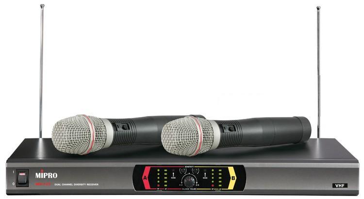 MIPRO MR-123無線麥克風 VHF固定頻率雙頻道自動選訊接收機 配2支手握麥克風