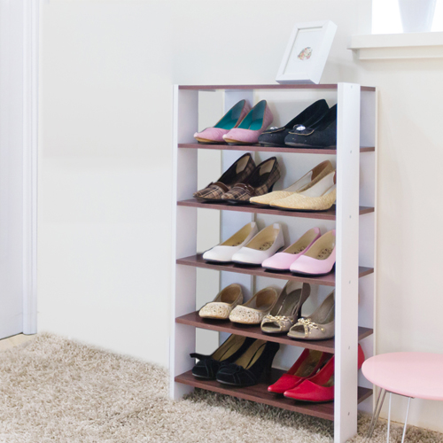 《Hopma》白橡配白多功能組合式五層鞋櫃