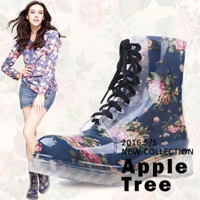 AppleTree日韓-透明印花繫帶馬丁鞋防水雨鞋低筒雨靴2色【S403015】