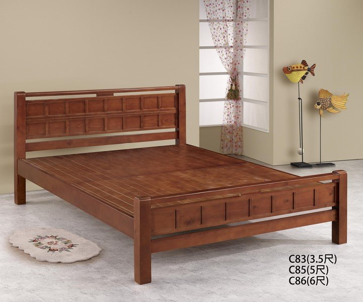 【石川家居】GH-C86 方格樟木色 6尺實木床架 (不含其他商品) 需搭配車趟費