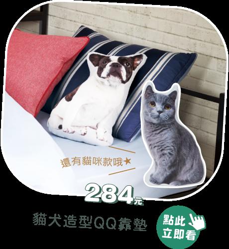 貓犬造型QQ靠墊