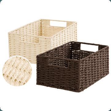 編織風收納籃 窄低型