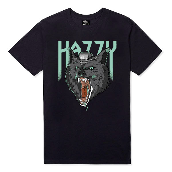 HAZZY JORDAN 4 GREEN GLOW WOLF TEE BLACK HZ141102 限量 狼 螢光 四代 球鞋 創作 限定 黑色 3天出貨 [新品發售免運]