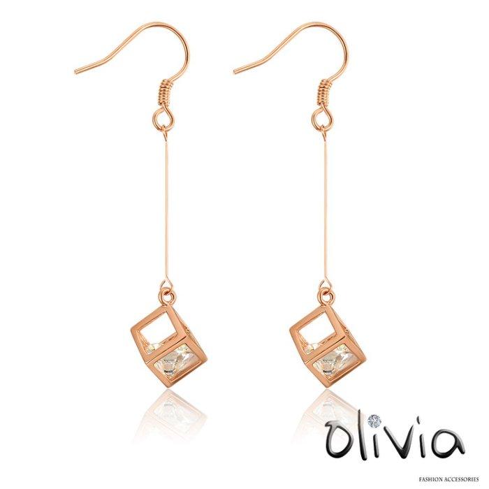 Olivia 耳針耳環 立體方塊鏤空鑲嵌鋯石耳勾耳環【N00228】玫瑰金色