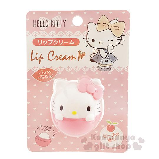〔小禮堂〕Hello Kitty 造型香味護唇膏《粉.球形.7.5g》水蜜桃香味