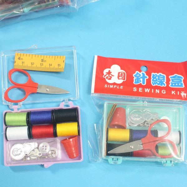 台灣製杏圃小針線盒 C1VQ055 針線包組(小透明壓克力盒)/一盒入{促30}~秉