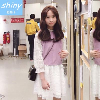 【V1225】shiny藍格子-甜美可愛.氣質假兩件九分蕾絲袖洋裝