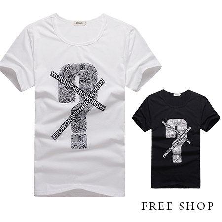 Free Shop【QR01037】美式休閒幾何問號造型貼布印花圓領棉質短T短袖上衣潮T‧二色
