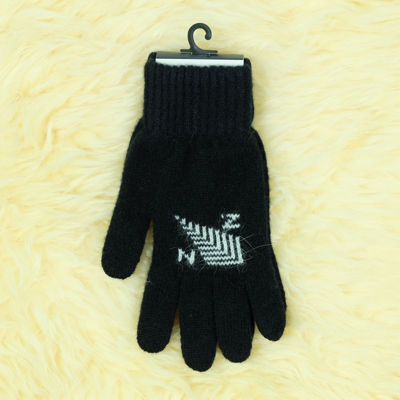 紐西蘭100%美麗諾羊毛手套*黑色*銀蕨