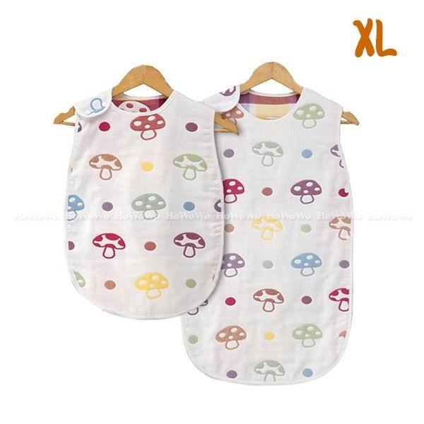 嬰兒睡袋 蘑菇六層紗防踢背心 紗布睡袍 防踢被 XL號 RA01474