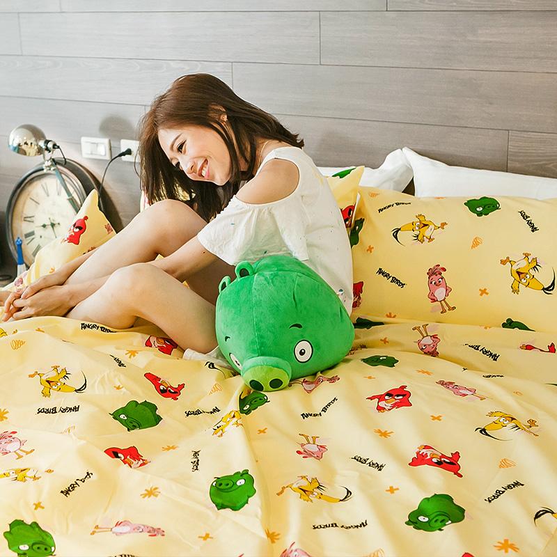 床包 / 單人【憤怒鳥Angry Bird-黃】含一件枕套,磨毛多工法處理,戀家小舖台灣製
