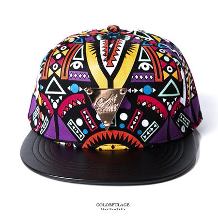棒球帽 金三角鐵牌塗鴨風皮革帽沿平板帽 增添造型感 出門必備 柒彩年代【NH208】幾何圖騰特色