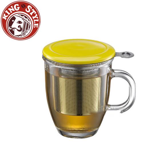 金時代書香咖啡 Tiamo 附蓋不鏽鋼濾網 玻璃馬克杯 黃色